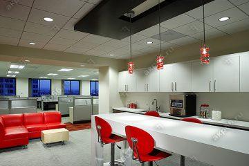 Потолок Армстронг Ритейл на ситеме супер-хром (серебро) и встроенными круглыми светодиодными панелями
