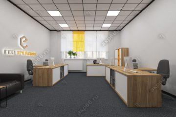 Потолок Армстронг Ритейл на черной подвесной системе со встроенными светодиодными светильниками (1-13)