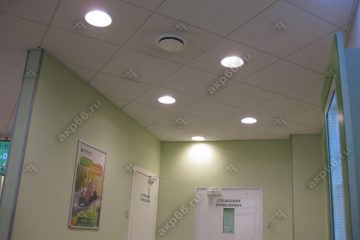 Потолок Армстронг Ритейл на белой подвесной системе со встроенными круглыми светодиодными панелями (1-3)