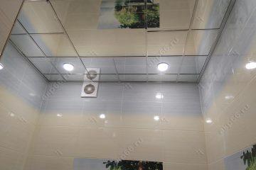 Зеркальный потолок в ванной комнате подвесная система супер-хром