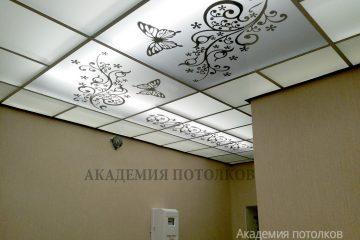 """Матовый потолок с декорированным узором и декором """"Бабочки"""""""