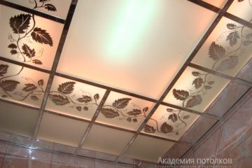 """Потолок с декором """"Лоза"""", матовым стеклом и серебряными вставками"""
