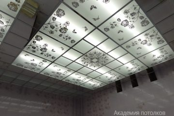 """Потолок с декором """"Цветы"""" и матовым стеклом"""