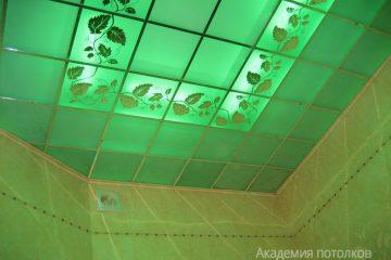 """Потолок с декором """"Лоза"""" и матовым стеклом, зеленый с подсветкой"""