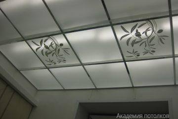 Потолок с черным декором, матовым стеклом и с черными вставками