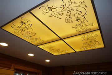 Потолок белый с матовой вставкой и декором с подсветкой