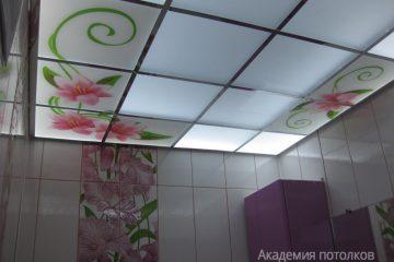 """Матовый потолок с фотопечатью """"Цветы"""" и зеркальными вставками"""