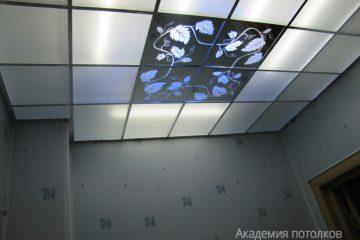 """Матово-зеркальный потолок с декором """"Виноградная лоза"""""""