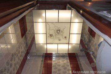 Матовый потолок с декором и белыми вставками