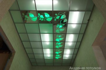 """Матовый потолок с зеркальными вставками, декором """"Лоза"""" и зеленой подсветкой."""