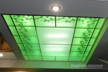 """Потолок матовый с декором """"Цветы"""" и зелёной подсветкой."""