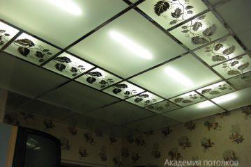 """Матовый потолок с зеркальным декором """"Лоза"""" и серебряными вставками в зале."""