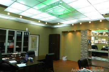 Потолок матовый с зеркальным декором, серебряными вставками и зелёной подсветкой в кабинете.
