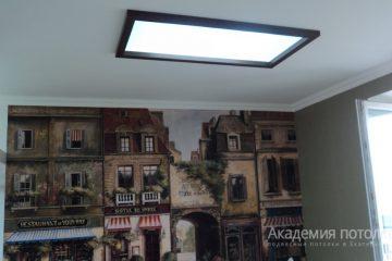 Имитация мансардного окна в потолке. Матовое стекло с подсветкой