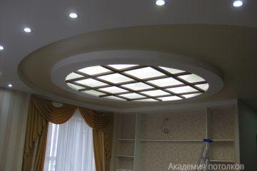 Комбинированный потолок с круглой вставкой из матового стекла с подсветкой и перегородками