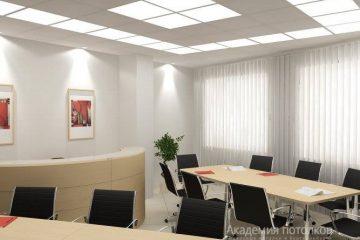 Кассетный потолок металлический белый 60х60 на белой подвесной системе с вставками из акрила или стекла матового с подсветкой