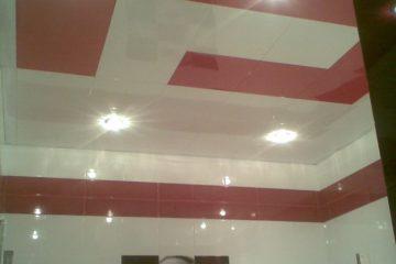 Кассетный потолок 30х30 на скрытой подвесной системе бело-красный