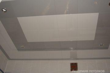 Кассетный потолок 30х30 на скрытой подвесной системе бело-серый