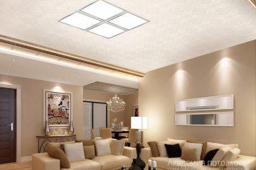 Кассетный потолок 30х30 на скрытой подвесной системе белый с узором «Печенье» в центре вставка из 4 светильников светодиодных 30х30