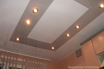 Кассетный потолок 30х30 на скрытой подвесной системе белый и бежевый жемчуг