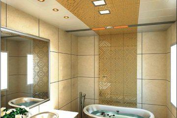 Кассетный потолок 30х30 на скрытой подвесной системе белый в центре с мозаикой золото