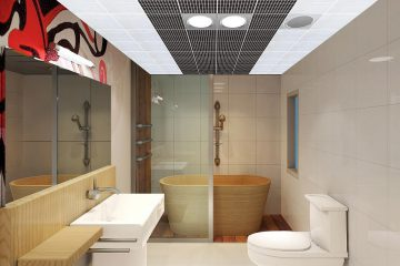 Кассетный потолок 30х30 на скрытой подвесной системе в уборной мозаика черно-белая