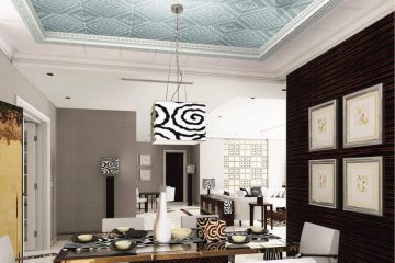 Кассетный потолок 30х30 на скрытой подвесной системе с серебристым узором в гостинной