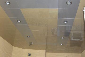 Кассетный потолок 30х30 на скрытой подвесной системе бежевый с серебром