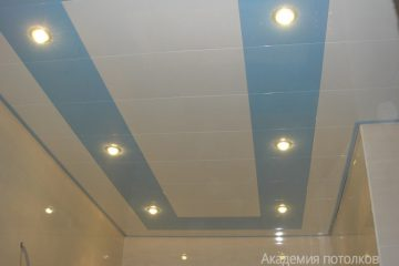 Кассетный потолок 30х30 на скрытой подвесной системе белый с голубым