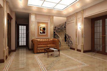 Потолок из матового стекла с подсветкой в коридоре на золотой системе