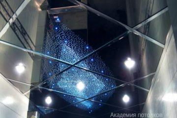 """Зеркальный потолок со светильниками и эффектом """"Звездное небо"""""""