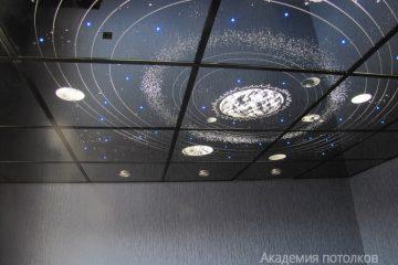 """Зеркальный потолок Солнечная система с эффектом """"Звездное небо"""""""