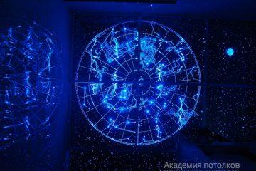 """Потолок Созвездия с эффектом """"Звездное небо"""", синяя подсветка"""