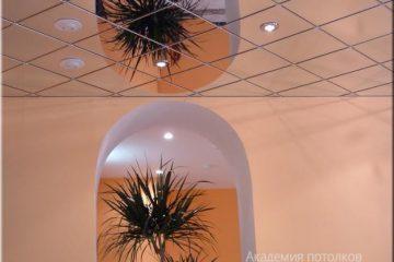 Зеркальный потолок с встроенными светильниками