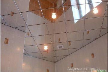 Зеркальный потолок с встроенной вентиляцией и светильниками