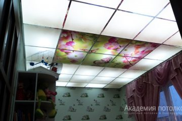 ППотолок в детской комнате. Фотопечать с матовым стеклом.