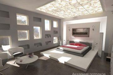 Белый потолок с узорчатой фотопечатью на стекле в спальне.