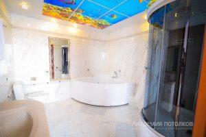 """Потолок с подсветкой и фотопечатью """"Водный мир"""" в ванной."""