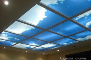 """Потолок белый с перегородками, подсветкой по кругу и фотопечатью """"Вид на небо""""."""