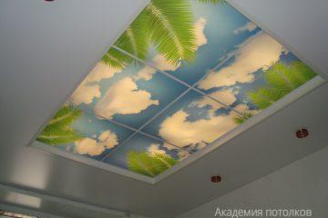 """Белый потолок с подсветкой и фотопечатью на стекле """"Пальмы и небо""""."""