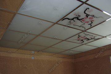 Потолок в комнату с декором Орхидея на хромированное системе