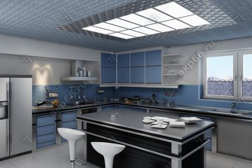 Кассетный потолок на кухне квадратный титан на скрытой подвесной системе