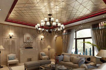 Кассетный потолок в гостиной матовый золото на скрытой подвесной системе
