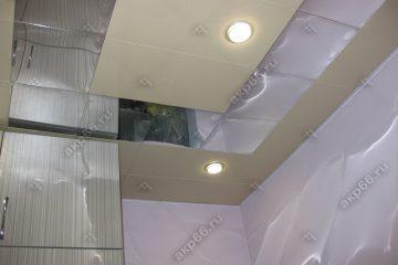 Кассетный потолок матовый золото с хромом на скрытой подвесной системе