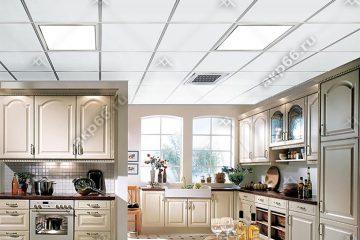 Кассетный потолок на кухне белый с каймой на скрытой подвесной системе