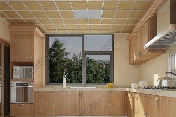 Кассетный потолок на кухне матовый золото на скрытой подвесной системе