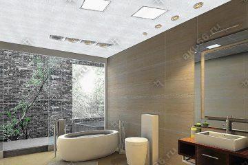 Кассетный потолок в ванной комнате белый с узором на скрытой подвесной системе