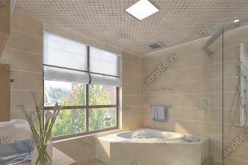 Кассетный потолок в ванну на скрытой подвесной системе с рисунком «Ромбик зеркальный»