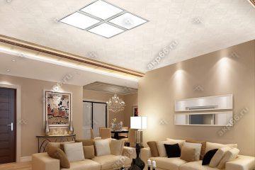 Кассетный потолок 300х300 мм на скрытой подвесной системе белый с узором «Печенье» в центре вставка из 4 светильников светодиодных 300х300мм