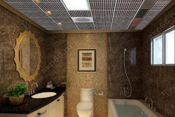 Кассетный потолок в ванной комнате черная клетка на скрытой подвесной системе